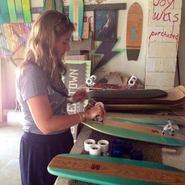 We've got our sister helping us out this week in the shop! #handmade #skateboards #nashville #surfnashville #keepdiscovering