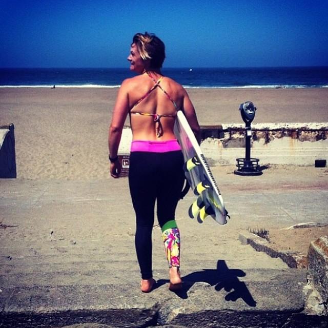 I don't want to brag, but once a year in SF, you can go sans wetsuit.  It's like f*%#ing Christmas around here! Thanks for the photo @biancavalenti !! #sanfrancisco #oceanbeach #surf #legging #bikini #mavericks
