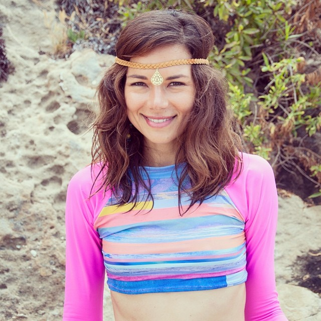 Our new 2015 #CropTop #rashguards in Pink and #Cloudbreak print! Full lengths available at @vbsurfvenicebeach -- booking 2015 now and swim collective! Email info@odinasurf.com for an appointment. -- model: @grace9000 #headpiece by @live_the_spirit...
