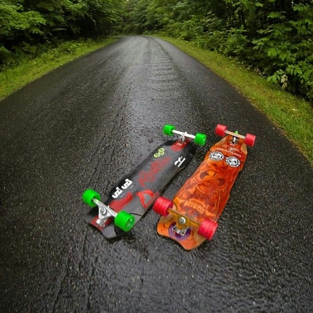 @niko_dh and @podesmarais riding at Burke mountain in the rain! #restlessboards #restlessnkd
