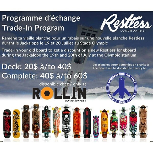 Trade-in your old board to get at discount on a new #restlessBoards during #jackalope the 19th and 20th of July at the Olympic stadium! @concretewavemag