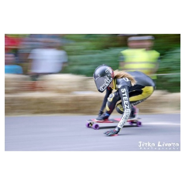 @spokywoky on her way to take 3rd place during #Kozakov Challenge. Jirka Livora Photography #longboardgirlscrew #girlswhoshred #fasterpussycatkillkill