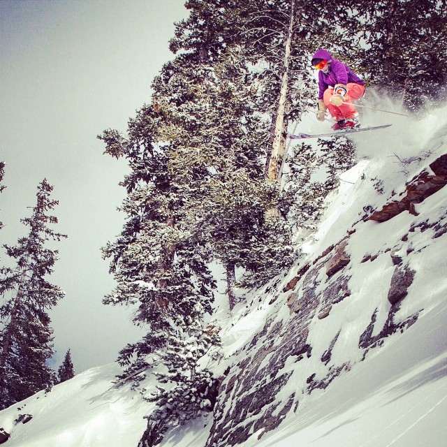 @lucysack pop, lock and dropping at @altaskiarea this past winter. #sendit #gingerpant #masalajacket