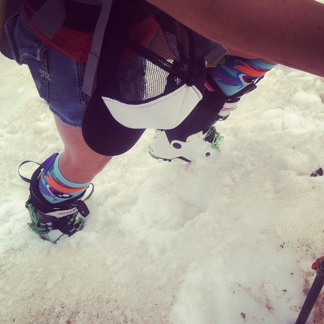 If you're going to #ski in the summer, make it fun. #jorts #getoutside #summerskiing #dynafit #ladyshred