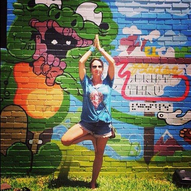 Getting zen? Better to do in our signature #organic cotton + #recycled poly triblend tees. #ahhh #yogi #treepose #tt #transformationtuesday #murals #streetart