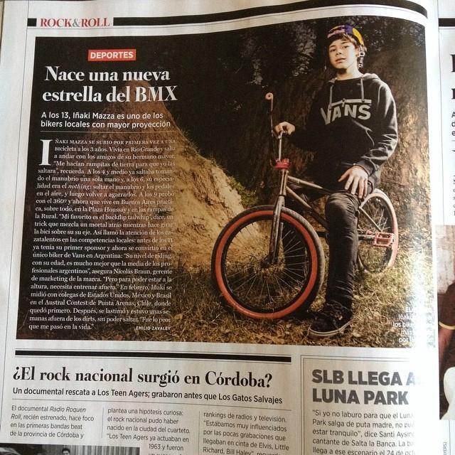 El capo de @ikibmx en la Rolling Stone de agosto. Aguante !! #teamvans #bmxvans Foto: Lucho Vidales
