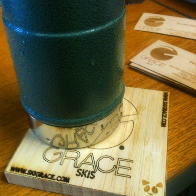 #reused ski cores make great coasters.. Topsheets make perfect biz cards.  #recycled  #madeindenver