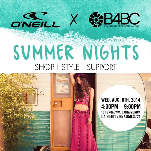 We are SO excited to announce @ONeillWomens x B4BC #SUMMER NIGHTS at the O'Neill #SantaMonica flagship store NEXT WEDNESDAY with #TeamB4BC #surfer @MaliaManuel! Everything is 25% off, with another 20% of sales benefiting B4BC! Come for the DIY station,...