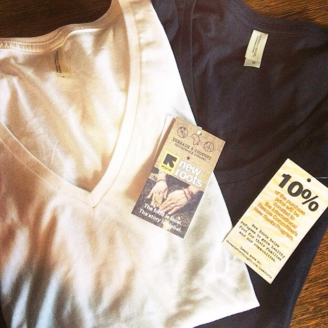 10% of each basic women's tee purchased goes to the #NewRoots program & @theirc!