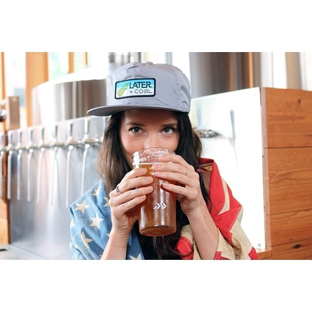 Bottoms up! Enjoying a fresh #craftbeer from @postmarkbrewing in the Coal x @latermag snapback | #fineliving