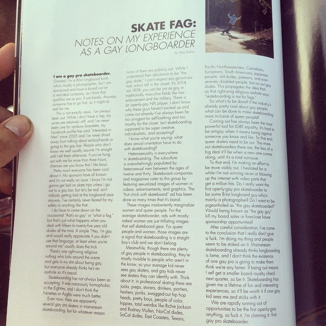 Congrats on first place @maxdubler !!! We support you!  New @skateslate mag came just in time for the road trip!!:) #gaypride #skateboarding #realtalk