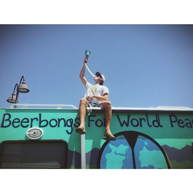 """Thirsty Thursdays"" Pt. 2 // Our summer intern @sunnydaze365 working hard to spread world peace with @beerbongsforworldpeace // #tahoemade #fairlaboract #bbfwp"
