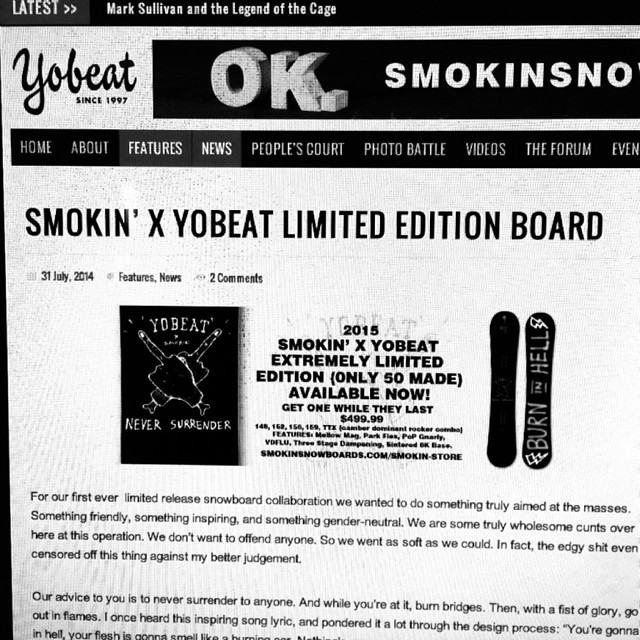 Our colab with @yobeat just went live on their website- got to www.smokinsnowboards.com to order - #only50made #mellomag #TTX #camberdominantrocker #$499.99  #dopeness #forridersbyriders #handmadelaketahoe