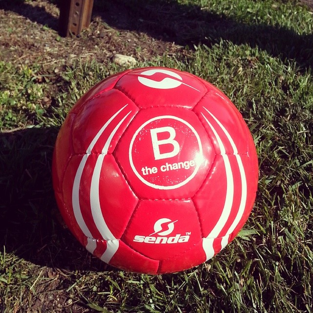 Anyone want to play? Thanks to @sendaathletics for the awesome #BtheChange ball we got at the B Lab offices today!