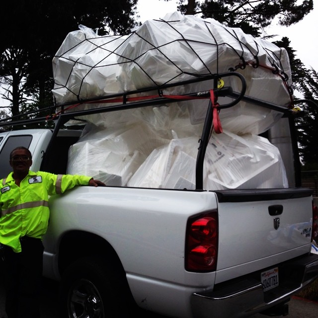 Who needs a Sprinter van when you got mad tieidown skills! This XXL wave of waste styrofoam collected from the aquarium operations at the CA Academy of Sciences, definitely won't be hitting the beaches around San Francisco thanks to our Waste to Waves...