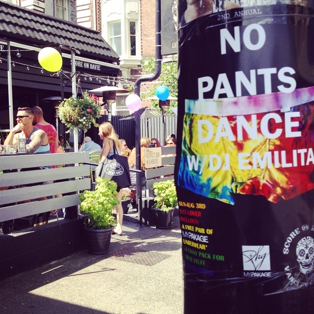 Supporting #pride2014 at @scoreondavie with the 2nd annual NO PANTS DANCE party tomorrow! Giving away lots of tie-dye MyPakage and high fives! #vancouver #pantsoffdanceoff #ihatepants #permissiontoplay
