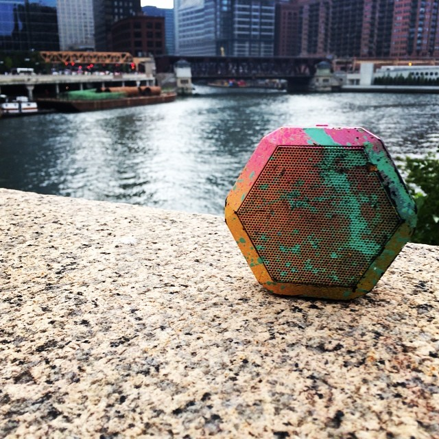 Shot of a #customunit by John Cole alongside the #chicagoriver #boombotix #chicago #splatter #rainbow
