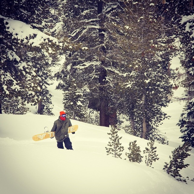 The endless quest for fresh snow. Rider @moofosta Photo @colintahoe #backcountry #freshpow #tahoe #thrivesnowboards #thriving #earnyourturns #freeride
