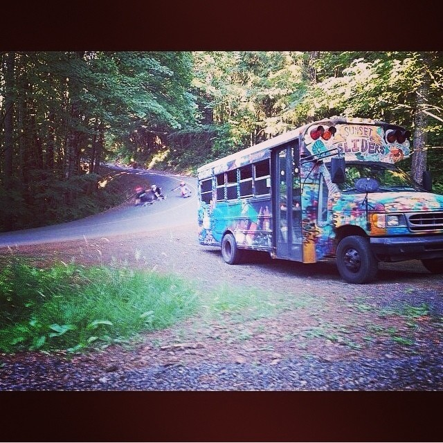 Regram @chubbaluv and friends on the peace love and #skateboarding #roadtrip #hippiebus #freedom