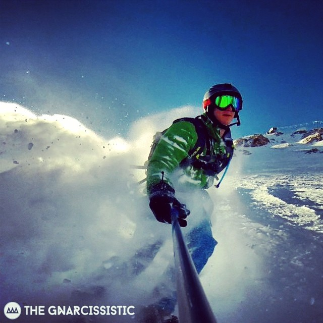 "GNAR OG/weatherman @skifeess with a throwback. ""teleconnections are looking epic"". #elnino #GNARCISSISTIC #mammothstories #gopro"