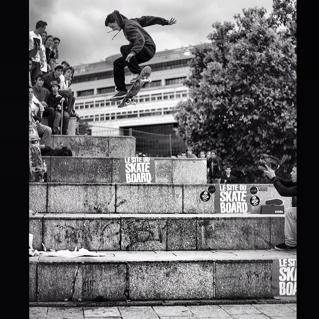 @benjigarcia stomps this huge #back360 in #issue31 #steezmagazine #checkingin from #France photographer #lukaleroy #skateboarding
