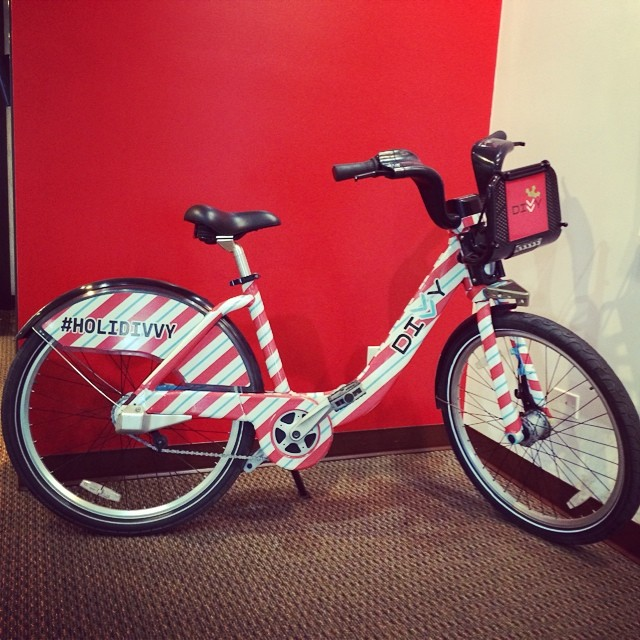 Here's another picture from our trip to @divvybikes yesterday #divvybikes #holidivvy #candycane #stripes
