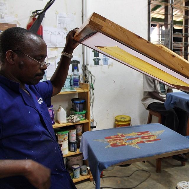 Lining it up just right. #handmade #organic #limitededition #screenprint #tees @wildlifeworks #Kenya