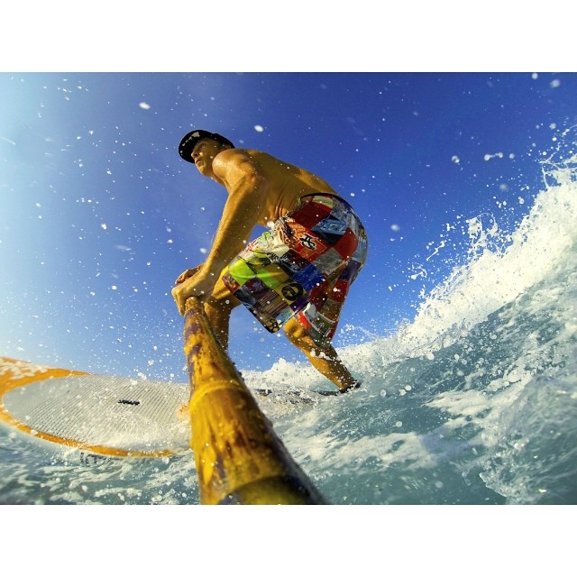 Morning sesh. Loving my @artofboard @irideirecycle @odinasurf #recycledbottle #boardshorts #bamboopaddle #imaginepaddlesurf #lifeinhifi #wiseguides #rareform #kaenon #itakebioastin #organik #navitasnaturals #gopro #paddlehawaii