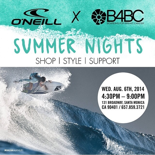 TOMORROW NIGHT come by the O'Neill Santa Monica flagship store for the #ONEILLxB4BCSummerNights event w/ @oneillwomens and surfer @maliamanuel!! SHOP 25% off, and another 20% of sales goes to B4BC! There will be a DIY turban headband station,...