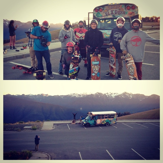 We out raging typhoon ridges for @davebfromsb birthday celebration! Thanks to local Brenden for the Xenia and the Pacific North West for amazing weather and vistas! #cleanwatertour #giantdetour2014 #calibertrucks @tomio93 @_littlecreek_ @chubbaluv...