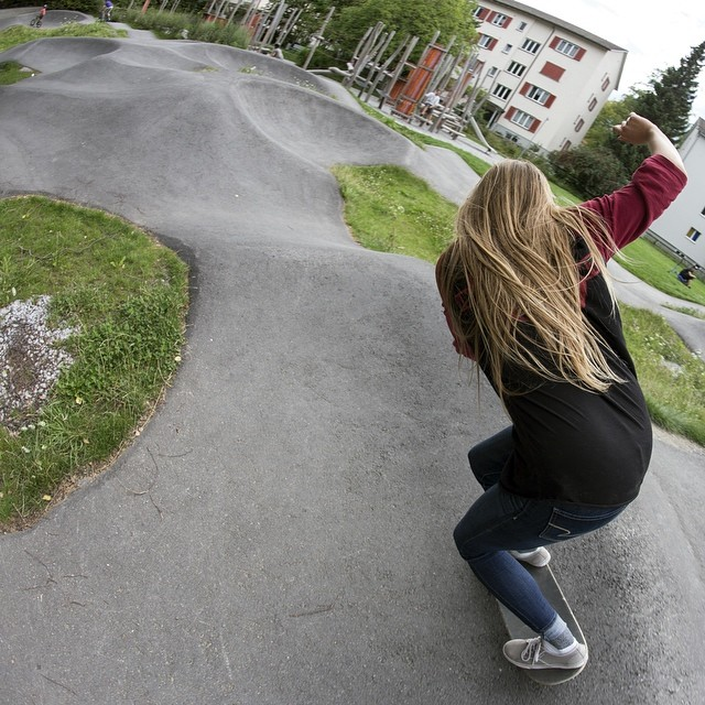 Our girl @manolitamade found this sweet spot in Switzerland while doing the Eurotour. @mattkienzle snap #longboardgirlscrew #girlswhoshred