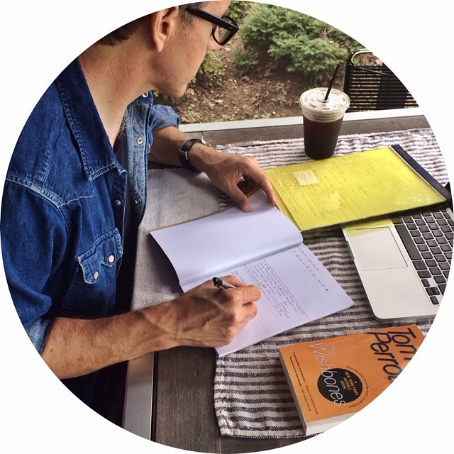On the porch, iced coffee at hand, songwriter @rileyetheridge crafting lyrics in his Allswell notebook.