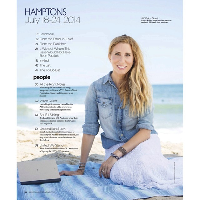 "Oh hey, @hamptonsmag thanks a bunch for the feature on AllSwell founder @lauralrubin in the current issue. And a big ol' picture on the table of contents, too? We're flattered! ""Everyone can benefit from the experience of writing for the sake of..."