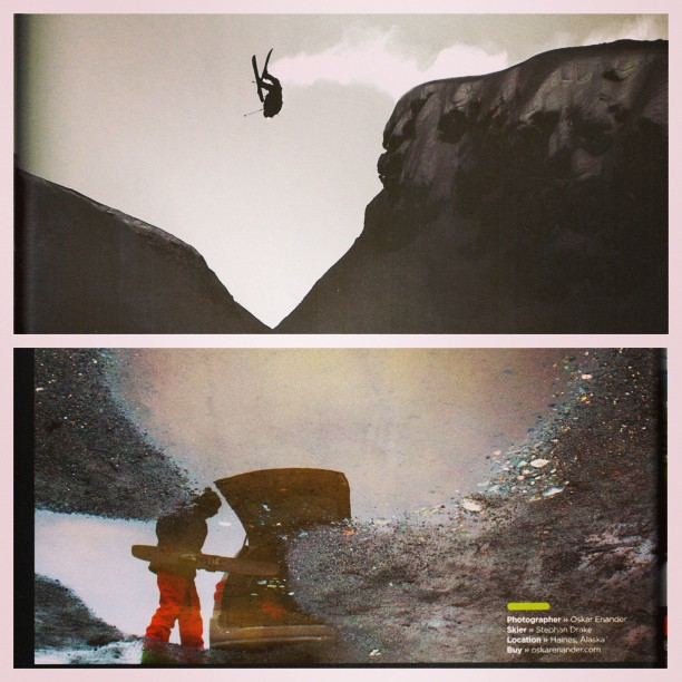 DPS #Koalas inflight and on the road chasing #powder... @oloflarsson sends a signature backflip, while #DPS Founder Stephan Drake stashes his Spoons post powder surfing. Both photos appear in @skiingmagazine's Photo Annual and are taken by...