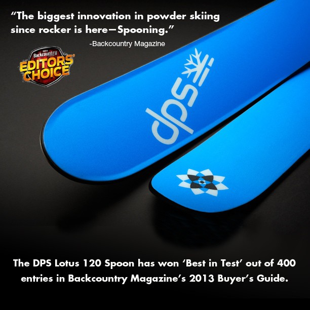 #Powder skiing will never be the same, #SpoonTechnology. Thanks for the love @backcountrymag, honored to receive 'Best In Test!' #Lotus120Spoon #skis #madeintheusa.