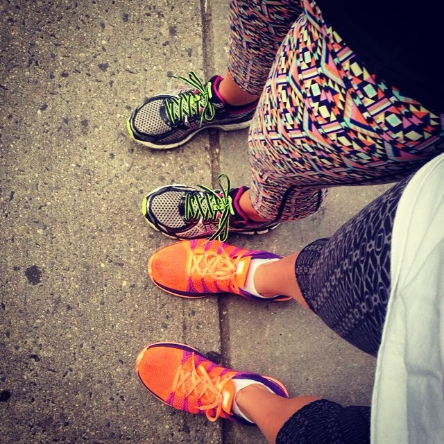 Two roomies on a city run in T4T Half Lotus Crop Pants.