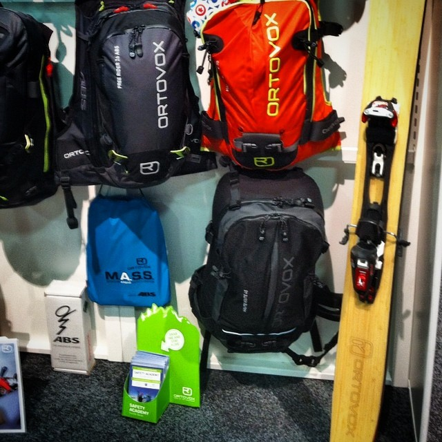 #ortovox and #deuter showing off their custom #skis at summer outdoor retail show!  #kylie #madeindenver