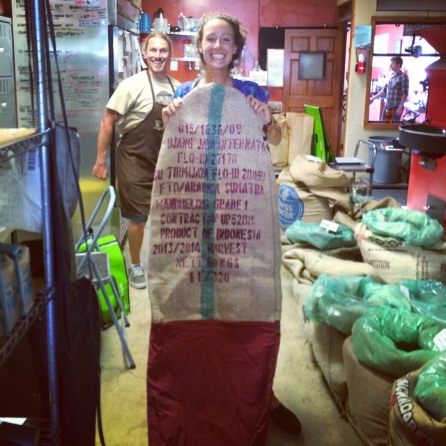 #Coffee + #Surfing + #Upcycling = Burlap bags once used to transport directly traded coffee beans from small farms across the world now upcycled into protective bags to transport your surfboard! It's true! Our awesome friend and fellow barista at...