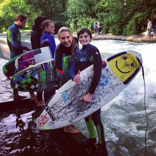 River surfing with the legendary groms of the Eisbach in Munich! @billabongwomens #billabongtravels #ingromswetrust