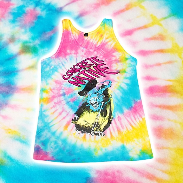 Summer 14' Product Feature: Possessed to Skate Tank - Our tribute to the great art of 80's skating and our Midwest roots. Art by the unbelievable Nate Powell! Learn more about him and this tank @ concretenative.com #skateordie #tiedye #concretenative...