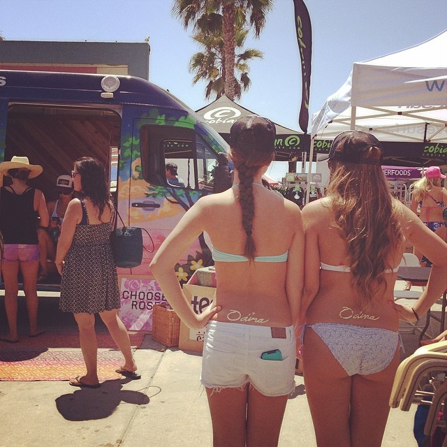 Come down to the #supergirlpro in #oceanside for great deals on our #bikinis! @Marisa_mckasson @_kyragraham right across from the @teekigram #lovebus