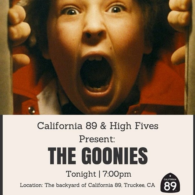 Meet us TONIGHT at @cahwy89 for The Goonies and a delicious meal from Marg's Taco Bistro Truckee at 7:00 pm! Can't wait to see you there!