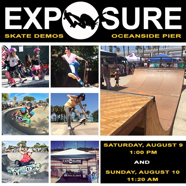 #EXPOSURE is hosting #skate demos this weekend at the Oceanside pier as part of the @supergirlpro surf event! Come watch Gaby Ponce, Amelia Brodka, the Pink Helmet Posse, Annika Vrklan, AmeeJay Papelera and many others shred the ramp on the beach!...