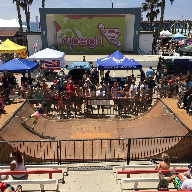 #EXPOSURE skate demos going off at the @supergirlpro in #Oceanside. We'll be here all day today and Sunday. Come check out the shredding and win some prizes, including a new @pennyskateboards!