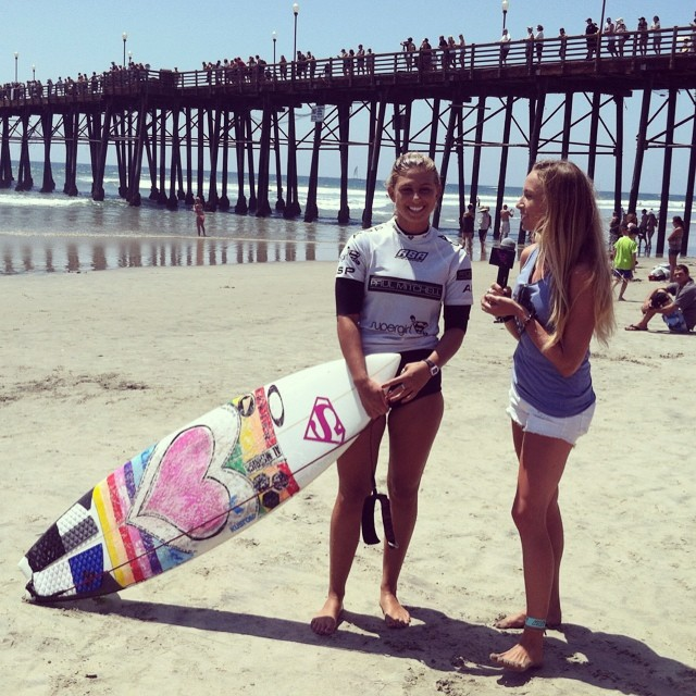 Yeww! Congrats to #teamB4BC #surfer @sageerickson on making it through to the finals of the @supergirlpro!! Here's Sage post-heat getting interviewed by our friend @shannonmarie_q at the @thesurfchannel about the win & why she supports #B4BC. We're so...