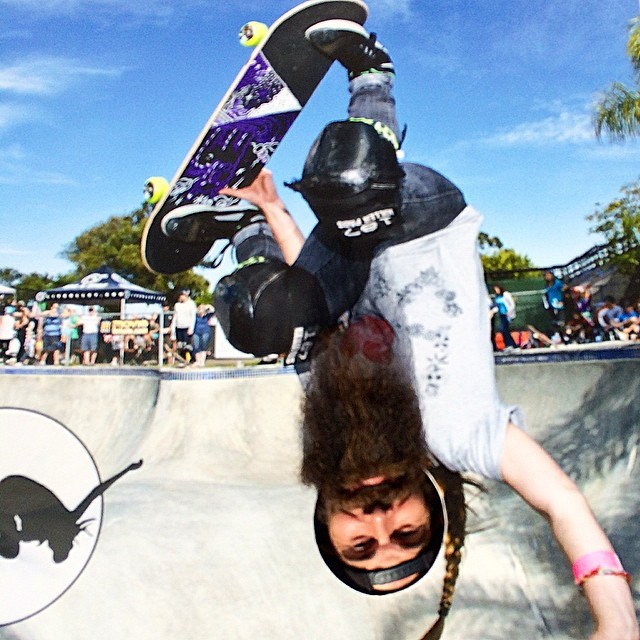 Come to the #EXPOSURE booth at the @supergirlpro in #Oceanside today. Take a pic with our life-sized cutout for a chance to win a new @pennyskateboards! Super sweet beard not required.