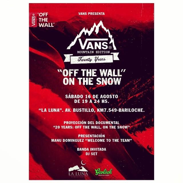 El viernes nos vamos a Bariloche para festejar los 20 años de Vans en la nieve y presentar a @manu_dominguez. Aguante todo.