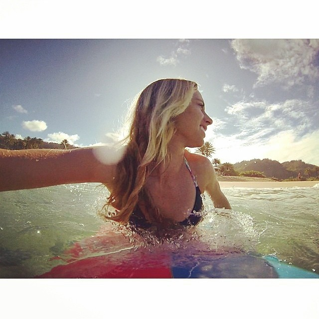 @shannonmarie_q making sure to get some #water time after the #supergirlpro. #rocking the #boho #surf #top in #black and #kauai -- #recycled #materials #eco #madeinusa #earth #friendly #swimwear for an #active #lifestyle
