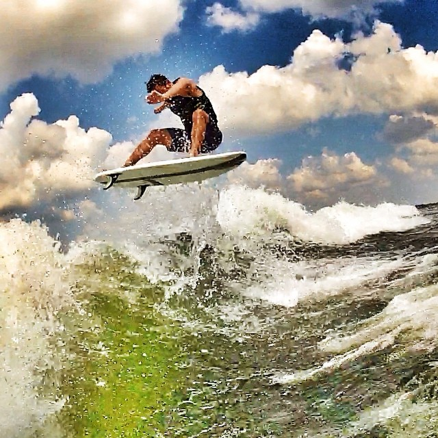 Fresh photo of the day. @n8irwin killing it on Pirkey Power Plant, Hallsville, TX. Board - Doomswell 4'6 Neo Boat - MB F-21 Tomcat. #doomswell #wakesurf #wakesurfing #keepitfresh