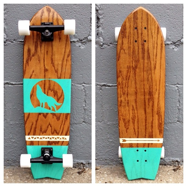 WOW. This longboard will make your heart skip a beat! Honey Oak Stain, Sea Foam and Ivory Paint, Glow Wheels, Black Trucks.